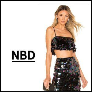 NWT NBD Liz Large Sequined Crop Top, Size XL
